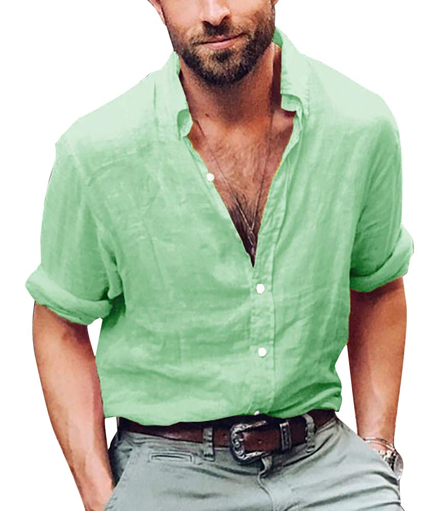 ThusFar Men's Button Up Linen Shirts - Summer Long Sleeve Button Down Hippie Shirts Medium Green Price: $23.99