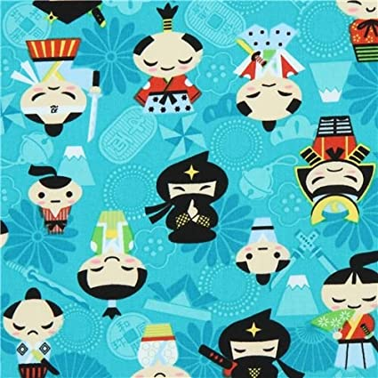 Turquoise cute people ninja fabric Trans-Pacific Textiles (per 0.5 yard unit)