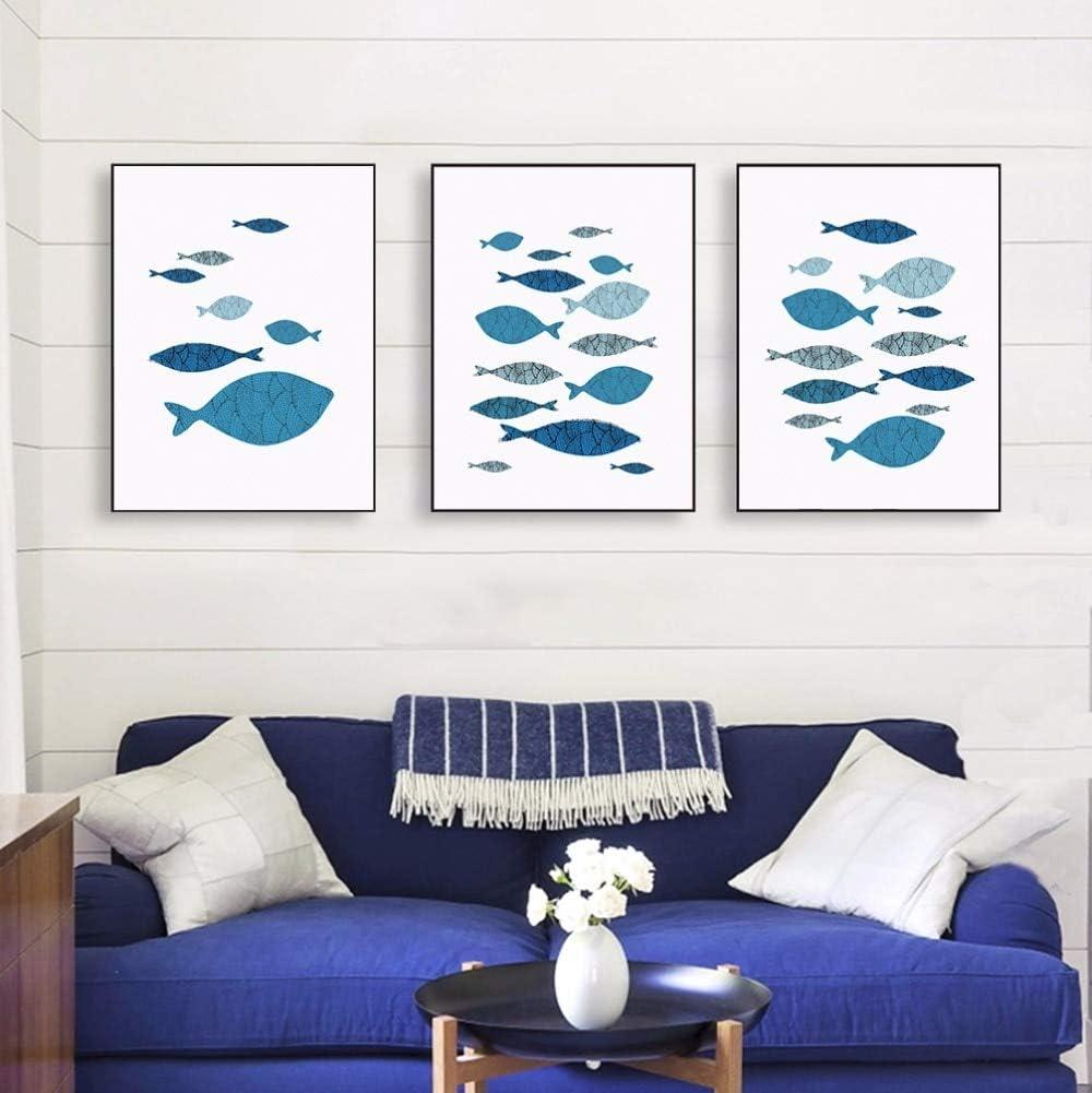 WLEZY Pintura de Lienzo 3 Piezas de Pescado océano Abstracto mar Pescado Azul Coral Lienzo póster Impresiones Cuadros Pinturas Sala decoración Arte de la Pared