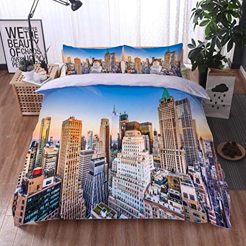 VROSELV-HOME Full Queen Duvet Cover Sets,New York City,Soft,Breathable,Hypoallergenic,100% Cotton Reversible 3 Pieces Kids Girls Boys Bedding Sets