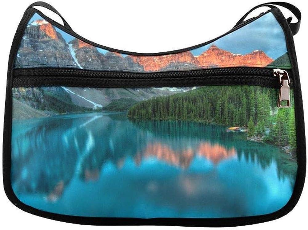 Sunrise On Lake Morin In National Park Messenger Bag Crossbody Bag Large Durable Shoulder School Or Business Bag Oxford Fabric For Mens Womens