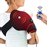 CHEROO Shoulder Heating Pad with Vibration Massager, Auto Shut Off Far Infrared Heated Brace Wrap Support W/Remote Control fo