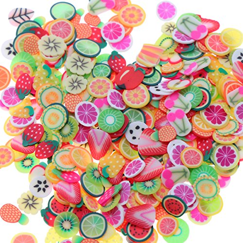 ULTNICE 3 Packs of Slime Slice Fruit Flower Leaves Decorations for Nail Art Sticking