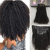 Moresoo 100% Capelli Veri Extension Clip in Hair Extensions #1b 7 pcs 120g