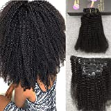 Bleaching Hair Is A Chemical Change - Moresoo 14 Inch Off Black Afro Curl Hair Extensions Clip ins 7 Pieces 120g Full Head for Black women Clip in Extensions with Deep Curl Brazilian Human Hair