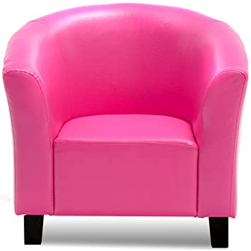 Amazon.com: Sofá de piel sintética rosa para niños, sofá ...