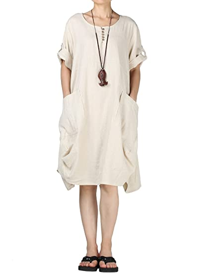 Mordenmiss Women\'s Cotton Linen Dresses Plus Size Summer Roll-up Sleeve  Baggy Sundress with Pockets