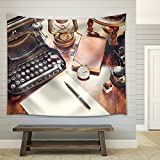 wall26 – Vintage Items, Camera, Pen, Globe, Clock, Typewriter on the Old Desk – Fabric Wall Tapestry Home Decor – 68×80 inches Review