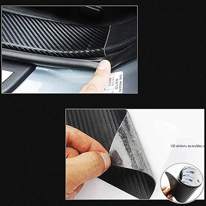 Per Suzuki Ignis Adesivi Batticalcagno In Pelle In Fibra Carbonio,Soglia Per Portiera DellAuto Pellicola Protettiva Resistente Alla Vernice Antigraffio,Accessori Per Lo Styling Automatico 4 Pezzi