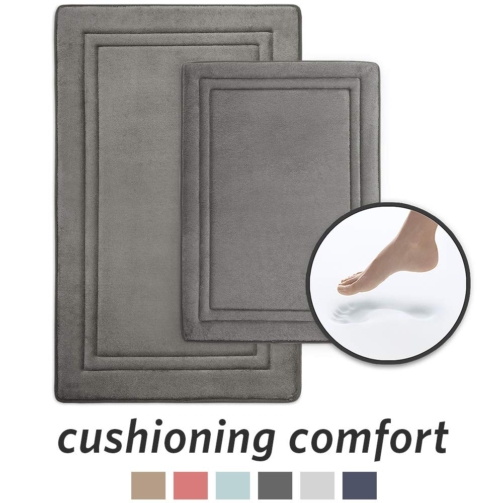 MICRODRY Quick Drying Memory Foam Framed Bath Mat with GripTex Skid-Resistant Base 2-Piece Set, Includes 17x24 Mat & 21x 34 Mat, Charcoal