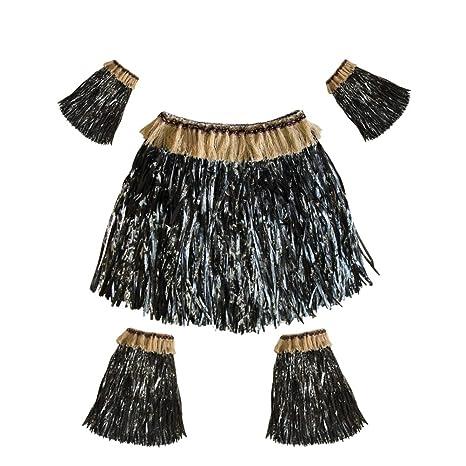 Amosfun Juego de Falda de Hierba Hawaiana para Disfraz, Accesorio ...