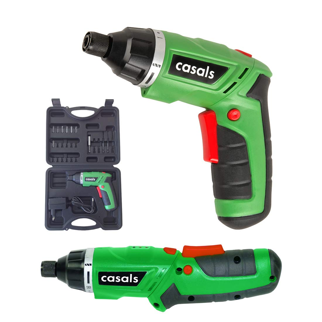 Casals VDSLI36AC - Atornillador plegable con batería de litio de 3.6 V) 1,3 Ah, 180 rpm, 3 Nm, con maletín) color verde y negro