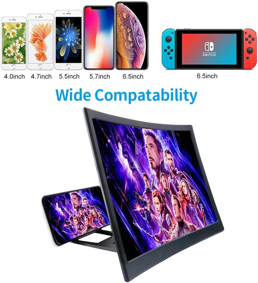 HD Amplifier Projector Magnifying Screen Enlarger for Movies 12 3D Curved Screen Magnifier for Cell Phone Zylee Screen Magnifier Videos and Games with Foldable Stand Compatible with All Smartphone