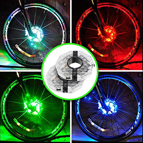 Alritz Rechargeable Bike Wheel Hub Lights, Waterproof 3 Modes LED Cycling Lights, RGB Colorful Bicycle Spoke Lights for Safety Warning and Decoration, 2 Pack