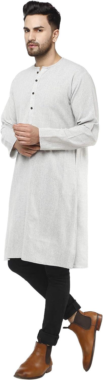 SKAVIJ Mens Tunic Cotton Kurta Long Shirt Regular Fit