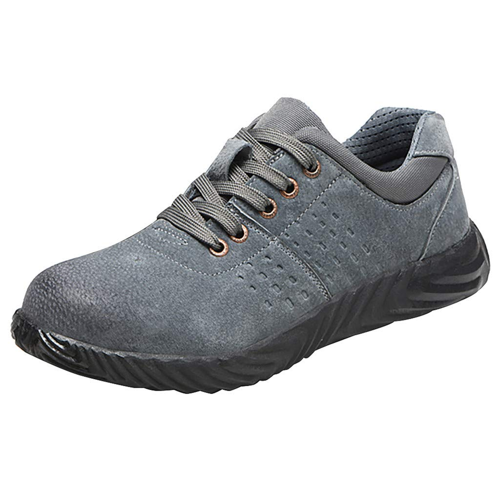 Men Women Safety Work Shoes - Premium Breathable Steel Toe Cap Anti-Smashing Beef Tendon Bottom Anti-Piercing Protective Shoes Hiking Boots