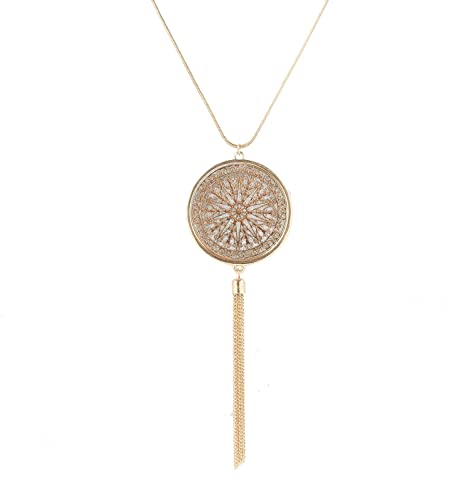 Amazon long necklaces for woman disk circle pendant necklaces long necklaces for woman disk circle pendant necklaces tassel fringe necklace set statement pendant gold aloadofball Images