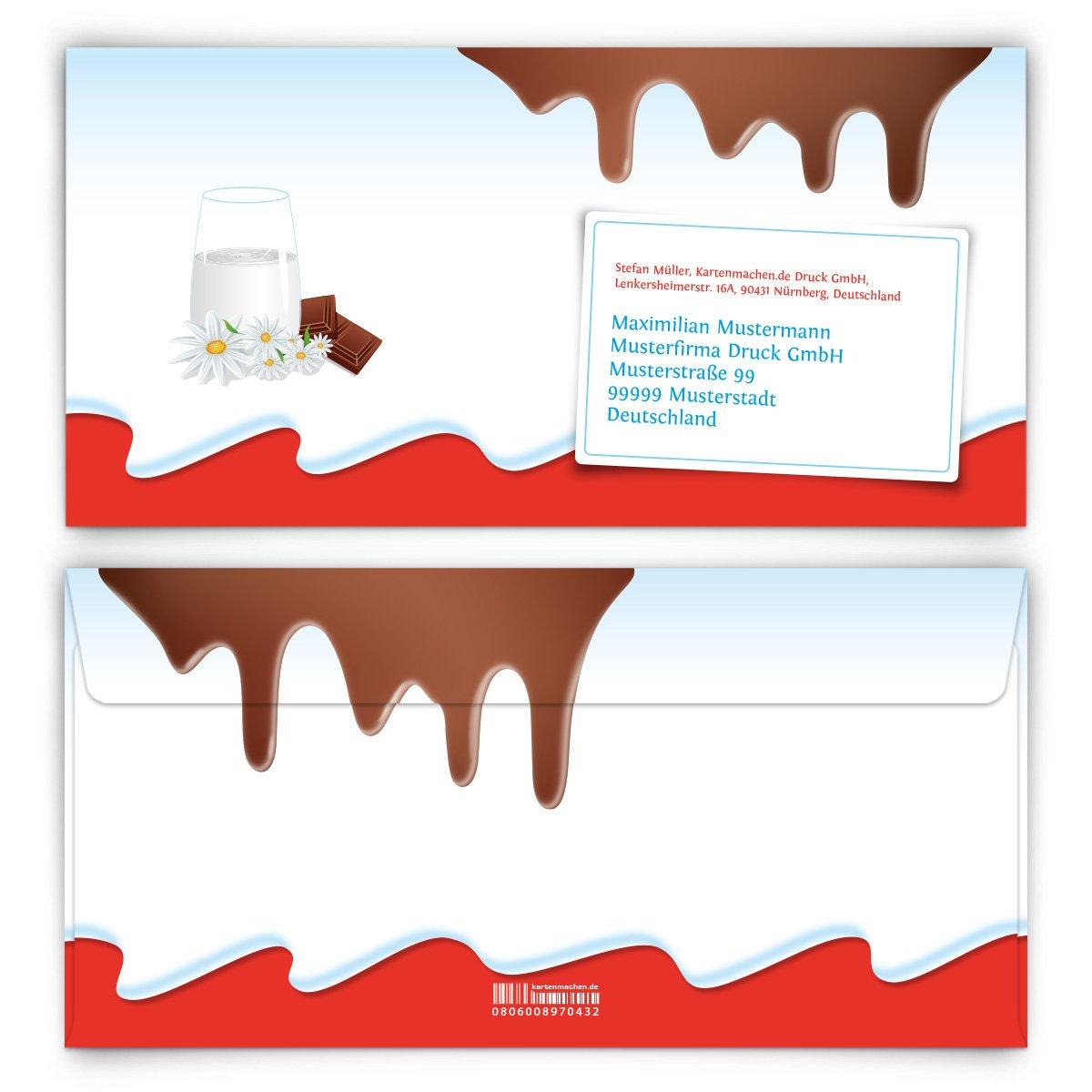 Personalisierte Briefumschläge (100 Stück) - Schokolade für Kinder - DIN Lang - bedruckte KuGrüns B06XJ9CKF8   Gute Qualität    Niedriger Preis    Moderne und stilvolle Mode