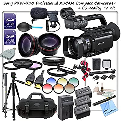 Sony PXW-X70 Professional XDCAM Compact Camcorder w/ CS Reality TV Kit: Includes High Definition Wide Angle Lens, Teleph