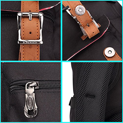 Mochila portátil Unisex Paquete de ocio de moda Para excursiones al aire libre viajes camping Por KAUKKO (Lona Ejercito verde) Nylon Negro 2PCS
