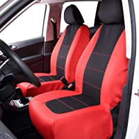 Maxtuf 2-Piece Front Car Seat Cover with 3mm Breathable Sponge and Compatible Airbag, Universial Fit for Vehicle Truck SUVs Set (Black/Red)