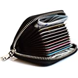 FJPTREN Leather Credit Card Holder with Zipper Card Case RFID Blocking for Women (BLACK)