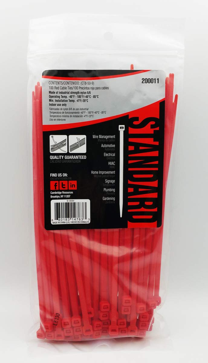 Red Cambridge Resources CT8-50C2 Standard Duty Cambridge Zipits Multi-Purpose Cable Ties 8 Inch 50 Lbs 100 Pcs