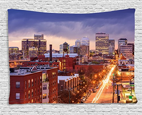 Ambesonne United States Tapestry, Richmond Virginia Highway Office Buildings Downtown at Dusk Urban Lifestyle, Wide Wall Hanging for Bedroom Living Room Dorm, 60