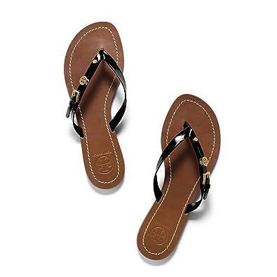 f144b64aad658 Amazon.com  Tory Burch Monogram Flat Flip Flop Thong Patent Saffiano sandal  (8
