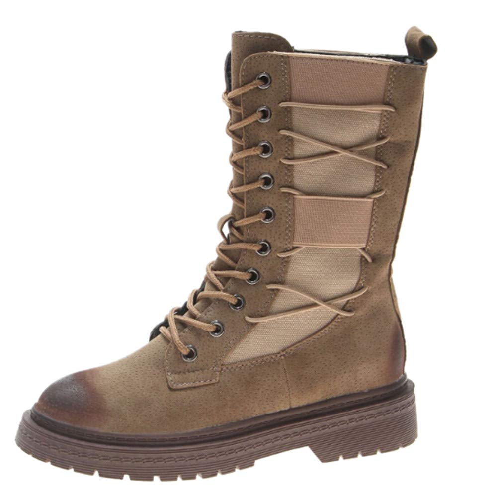 Bottes Tube Moyen,Overmal 2018 Hiver Femme Mode Retro Suede Solide Martin Bottes Rond Orteil Épaisse Plate-Forme Boots Sauvage Chaussures Hiver Chaud Party Shoes
