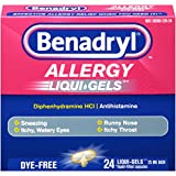 Benadryl  Antihistamine Allergy Medicine & Cold Relief, Dye-Free LIQUI-GELS Tablets, Liquid Gels, 24 Count (Pack of 2)