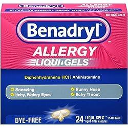 Benadryl Antihistamine Allergy Medicine & Cold Relief, Dye-Free LIQUI-GELS Tablets, Liquid Gels, 24 Count