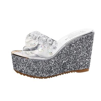 prix de détail Quantité limitée Excellente qualité Les Femmes Chaussures D'éTé Wedge Pantoufles Mode Talons Hauts Sandales  Simple Doux Pantoufle