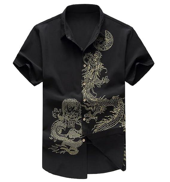 6467d178c ZSN Men's Stylish Dragon Print Short Sleeve Slim Button Up Shirt at Amazon  Men's Clothing store: