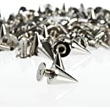 Cone Spikes NYKKOLA 100pcs/set 9.5mm Silver Cone Spikes Screwback Studs DIY Craft Cool Rivets Punk