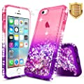 iPhone 5 / 5S / SE Case with [Tempered Glass Screen Protector], NageBee Quicksand Liquid Floating Glitter Flowing Bling Diamond Clear Soft Case For Apple iPhone 5 / 5S / SE - Pink/Purple from NageBee