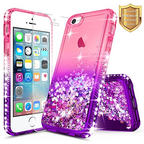 iPhone 5S Case, iPhone SE/iPhone 5 Case w/[Tempered Glass Screen Protector], NageBee Glitter Liquid Quicksand Waterfall Floating Flowing Sparkle Shiny Bling Diamond Girls Cute Case -Pink/Purple