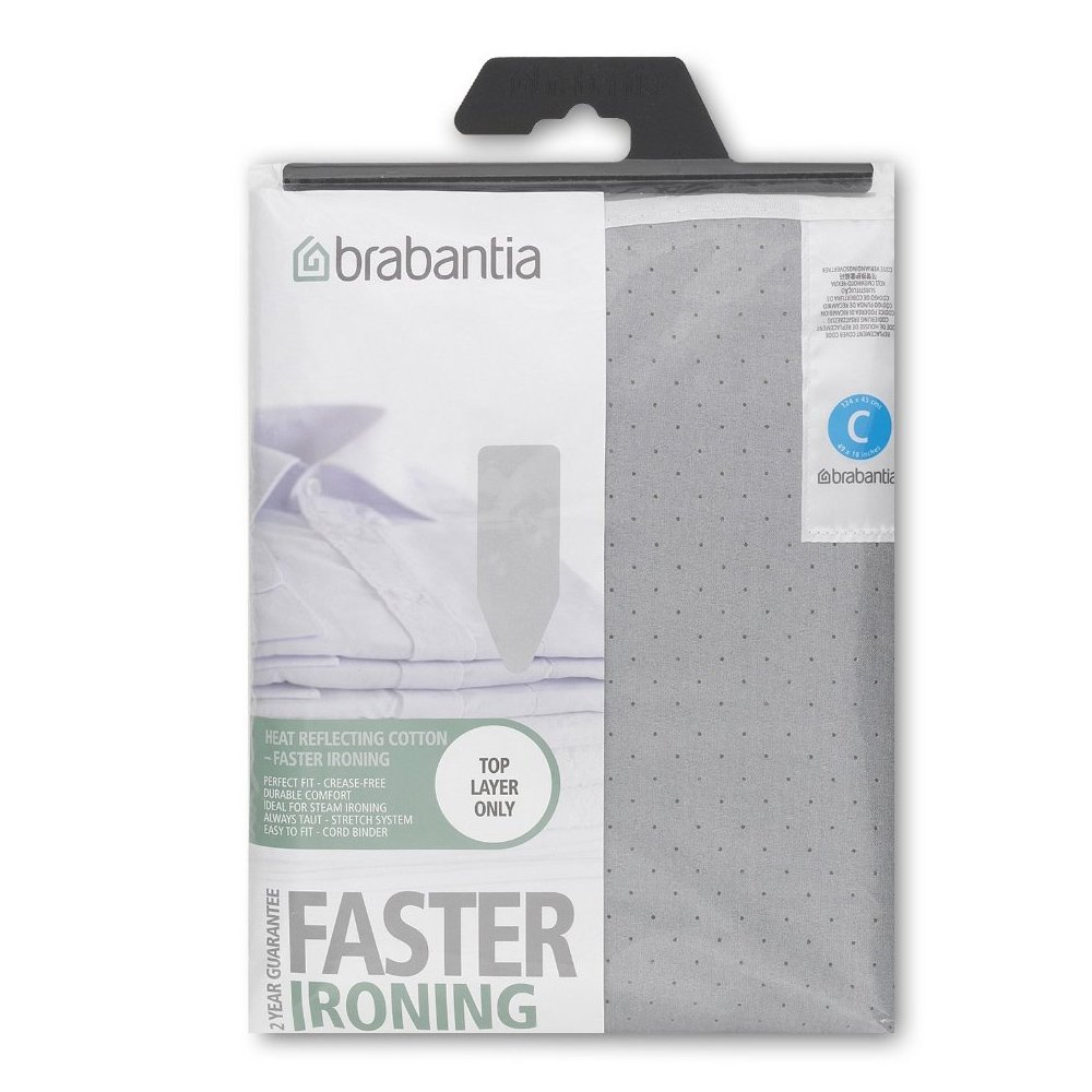 Brabantia Ironing board cover, metallized top layer without underlay, Size C - Wide, Gray by Brabantia