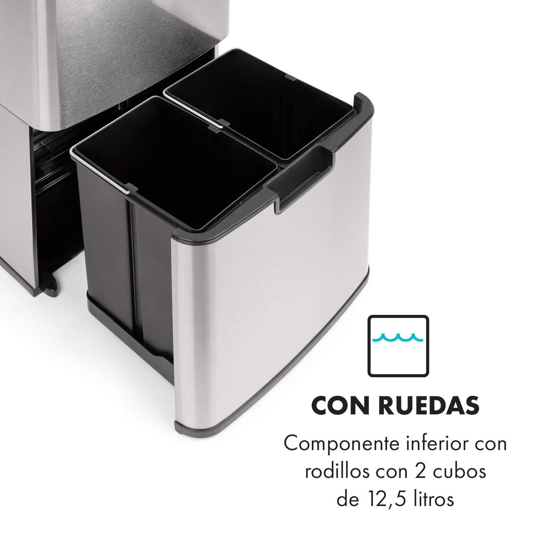 72 litros de volumen en 4 recipientes: 43 y 2 de 12,5 litros sin tocarlo: apertura y cierre autom/áticos plateado cubo para org/ánico de 4 litros Klarstein Touchless cubo de basura con sensor
