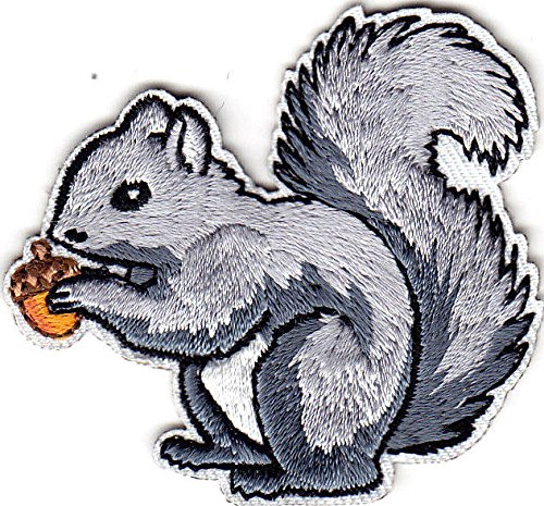 GRAY SQUIRREL - FOREST ANIMAL/Iron On Embroidered Applique Patch/Cute Critters (Squirrel On Iron)