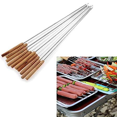 MK 49cm Long Metal Barbecue Skewers with Wooden Handle 10 Pc