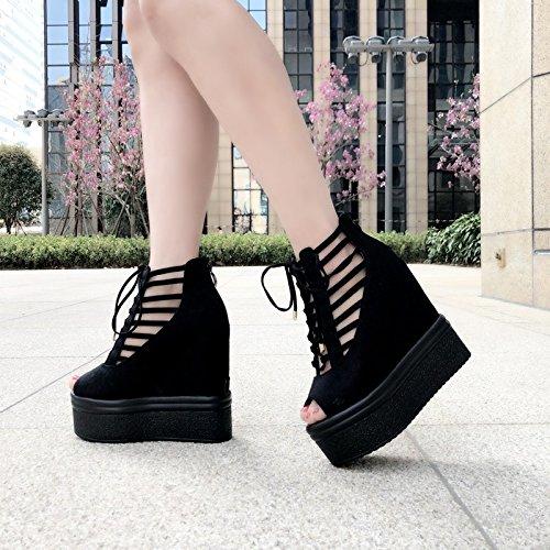14 grueso las sandalias cm verano mas 2 765 gruesos XiaoGao En de nueva mas negro y dama hueco son qBZww0