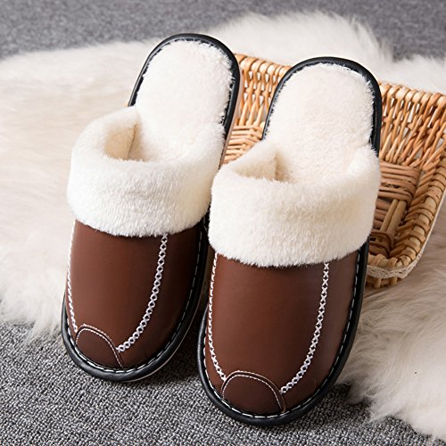 Pictures of HRFEER Women's Cozy Faux Fur House WS17 Coffee 2
