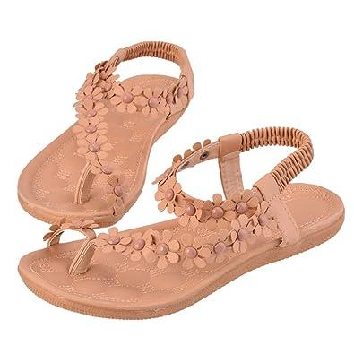 Women Bohemia Sandals Flower Beads Sport Flip Flops Flats Slingback Thong Shoes