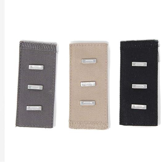 Gründl 3 Stück Bunderweiterung mit Knopf für Hosen/&Röcke beige grau schwarz 1362