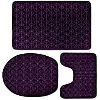 3 Piece Bath Mat Rug Set,Indigo,Bathroom Non-Slip Floor Mat,Ethnic-Oriental-Design-with-Floral-Swirl-Leaf-Details-Image-Print,Pedestal Rug + Lid Toilet Cover + Bath Mat,Eggplant-Purple-and-Purple