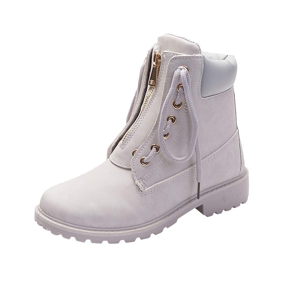 Snow Boots for Womens Girls, QHJ Solid ColorLace Up Zipper Casual Ankle Round Toe Shoes Student Snow Boots