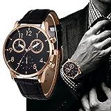Han Shi Wrist Watch - Man Fashion Watch Retro Leather Band Analog Alloy Quartz Clock