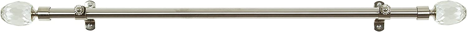 28-Inch Extends to 48-Inch Achim Home Furnishings Royalle Crystal Curtain Rods with Finials Silver