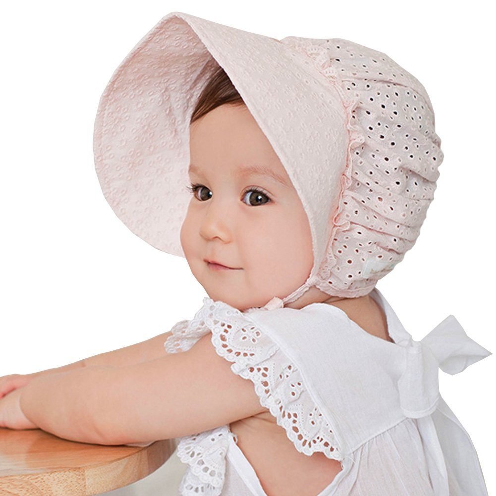 Amazon.com  LianLe Baby Girls 6-18 Month 100% Cotton Sun Hat Princess  Ribbon Bonnet Beanie Cap  Clothing 73bd71291b4